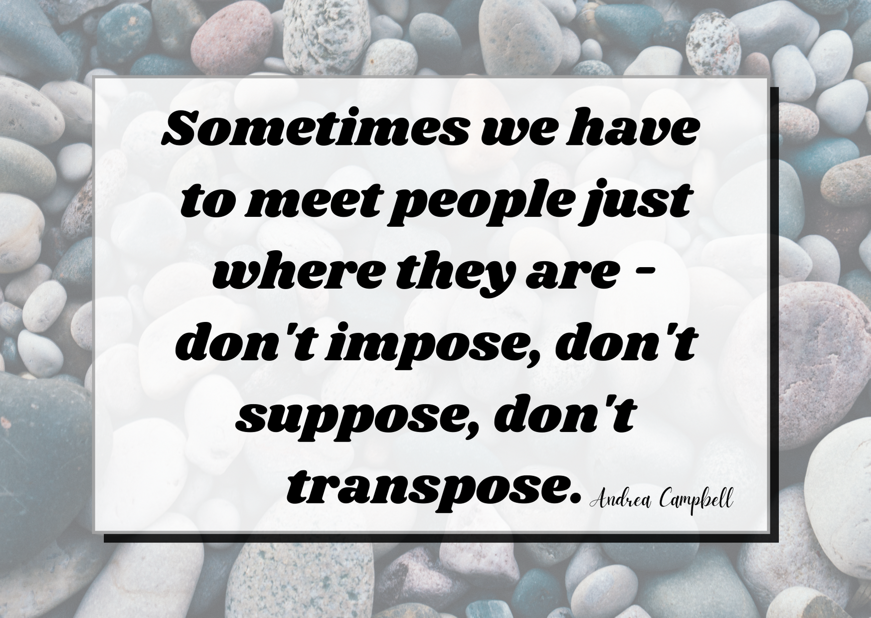 sometimes we have to meet ppl